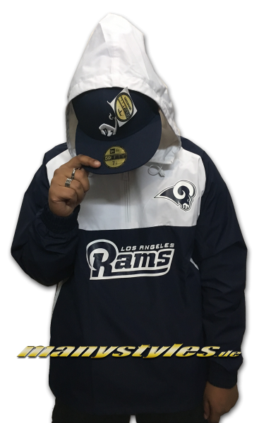 Los Angeles Rams NFL Color Block Windbreaker OTC Official Team Color navy white von New Era