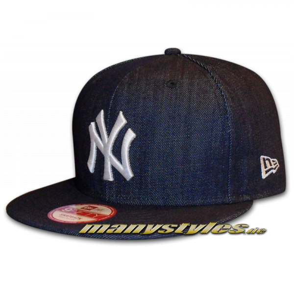 NY YANKEES New Era 9FIFTY Denim Basic Authentic Snapback Cap Team Color Navy White