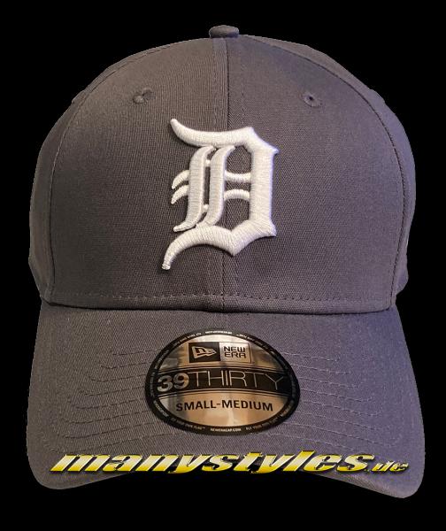 Detroit Tigers MLB 39THIRTY Curved Visor League Essentials Cap in Graphite Grey White von New Era