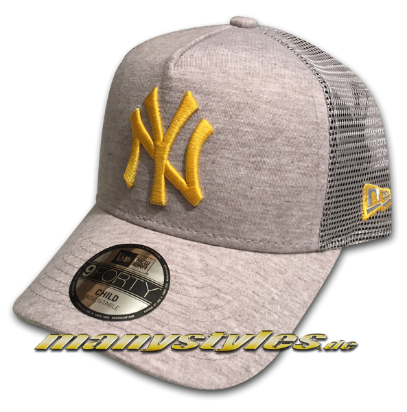 NY Yankees 9FORTY MLB AF Trucker Snapback Cap Kids AFrame Curved Visor Kids Toddler Child Jersey Heather Grey Yellow von New Era