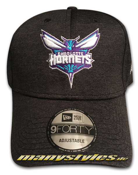 Charlotte Hornets NBA 9FORTY Shadow Tech Jersey Cap Charcoal Heather Teal Purple OTC 940 Curved Visor Adjustable Cap von New Era