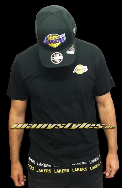 LA Lakers NBA Team Wordmark Tee Black Yellow OTC von New era