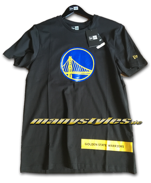 Golden State Warriors NBA Block Wordmark Tee T-Shirt Black Navy Goldyellow OTC von New Era