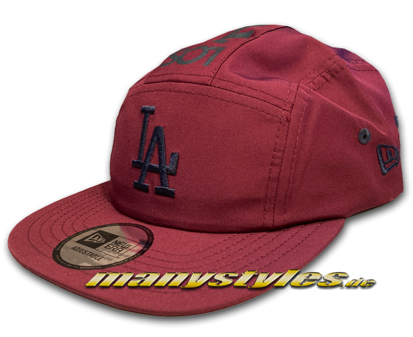 New Era LA Dodgers Camper Adjustable 5Panel Cap Maroon Navy