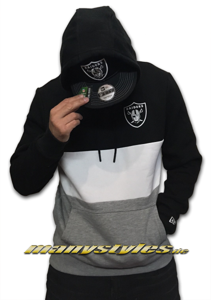 Oakland Raiders NFL Color Block Hooded Black Grey White OTC von New Era