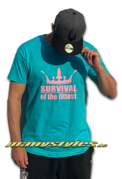 Survival of the Fittest Crown exclusive T-Shirt in Miami Vice Color von Sol Carribean Blue Mint Pink Back for Real