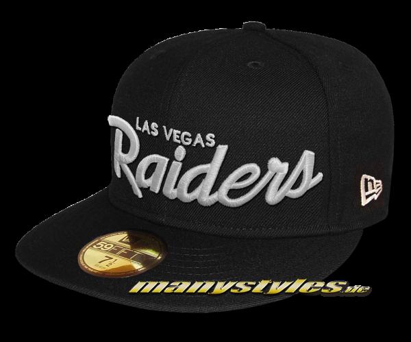 Las Vegas Raiders NFL 59FIFTY exclusive Classic Script Cap Black White von New Era