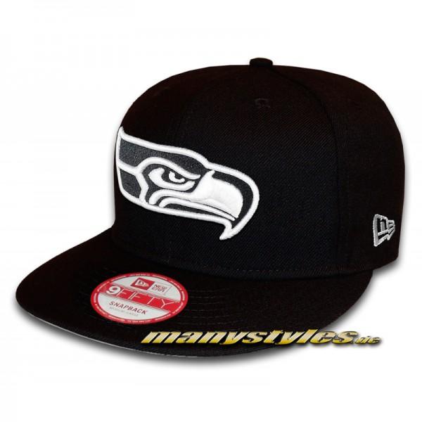 SEATTLE SEAHAWKS NFL 9FIFTY Snapback Cap Black White von New Era