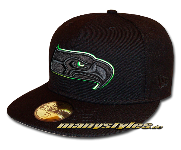 Seattle Seahawks 59FIFTY NFL exclusive Cap Black Action Green
