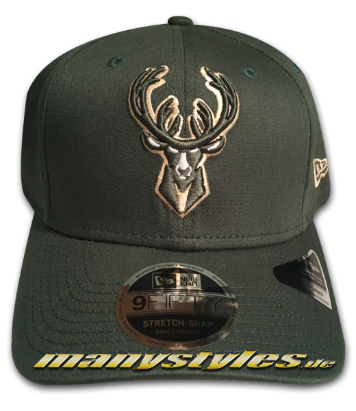 Milwaukee Bucks NBA 9FIFTY Stretch Snap Cap Black 950 SS Stretch Snapback Green OTC von New Era