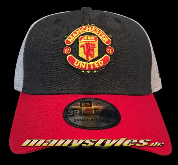 Manchester United 39THIRTY Curved Visor Cap Charcoal Heather Grey Scarlet Red Stretch Flex Fit von New Era