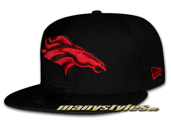 Denver Broncos 59FIFTY NFL official Black Scarlet Red Elephant exclusive Cap