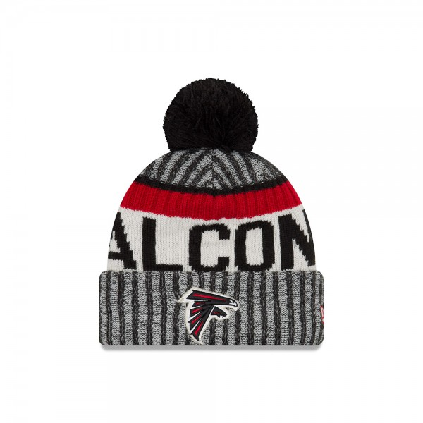 Atlanta Falcons  NFL Sideline 2017 Bobble Beenie Grey Black Red OTC von New Era Frontside