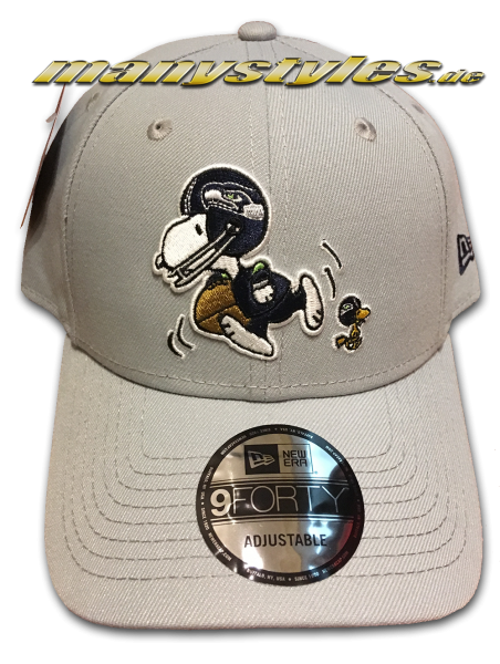 Seattle Seahawks 9FORTY NFL Peanuts Cap 940 Adjustable Cap Dolphin Grey von New Era