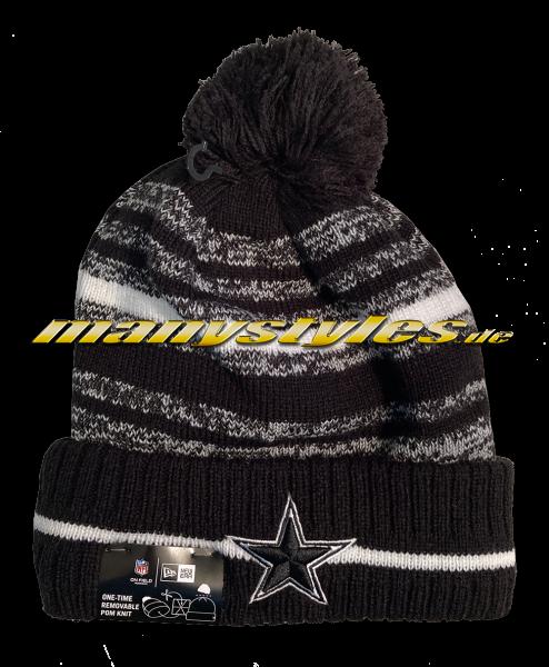 Dallas Cowboys NFL 2021 Sideline Beenie Sport Knit Black White von New Era