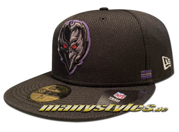 Baltimore Ravens 59FIFTY SL Home NFL Sideline 2020 Cap Black Purple Team Color von New Era