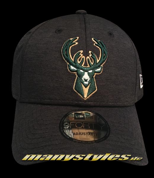 Milwaukee Bucks NBA 9FORTY Shadow Tech Jersey Charcoal Heather Green OTC 940 Curved Visor Adjustable Cap von New Era