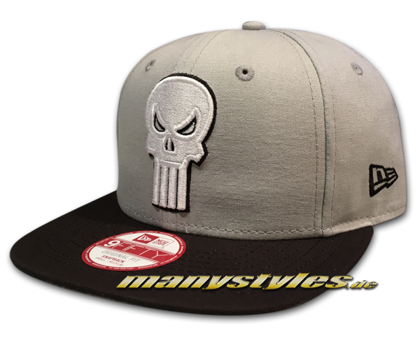 New Era The Punisher 9FIFTY Original Fit Marvel Comics Canvas Fade Snapback Cap Grey Black White