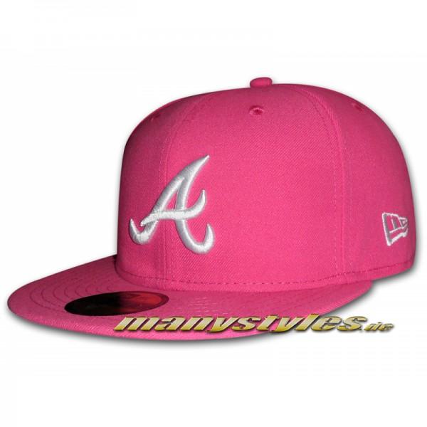 Atlanta Braves 59FIFTY MLB Basic Cap Beetroot White (Pink White)
