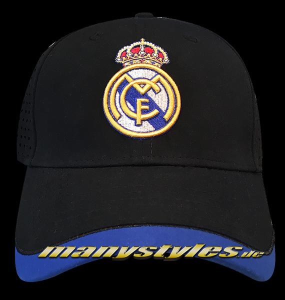 Real Madrid 39THIRTY Curved Visor Cap Black Royal Blue Stretch Flex Fit von New Era