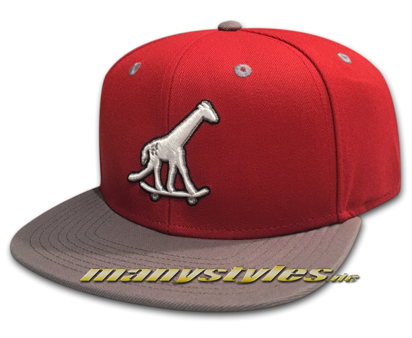 LRG Giraffe on Skateboard Strapback Snapback Cap Giraffe Hat Red