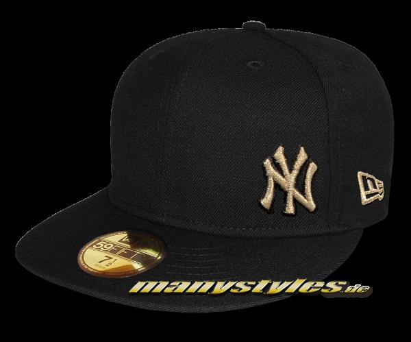 NY YANKEES MLB Basic Flawless Cap Black Gold Metallic 59FIFTY Fitted New Era Cap p Skizze