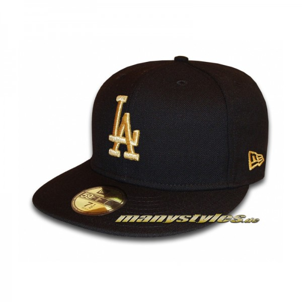 LA Dodgers 59FIFTY MLB Basic Metallic Cap exclusive Black Gold