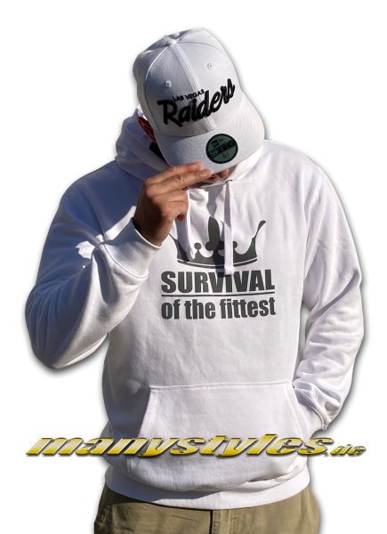 manystyles Survival of the Fittest Crown exclusive Hooded Sweatshirt mit Kapuze in Bright White Reflective 3M Print