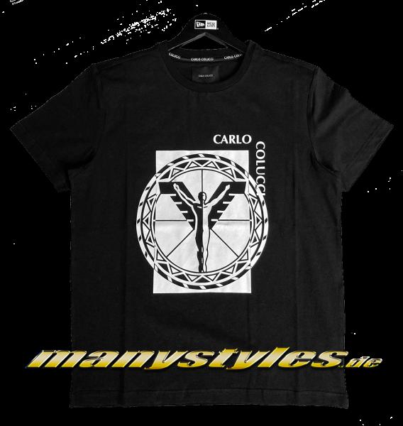 manystyles_de Carlo Colucci Logo T-Shirt Black White