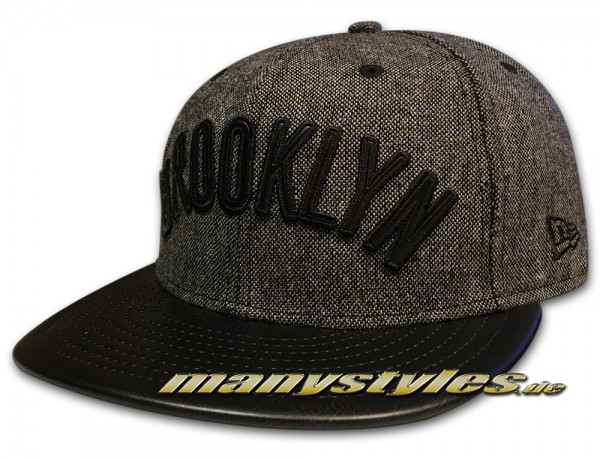 Brooklyn Nets NBA 59FIFTY Leather Tweed Black Grey