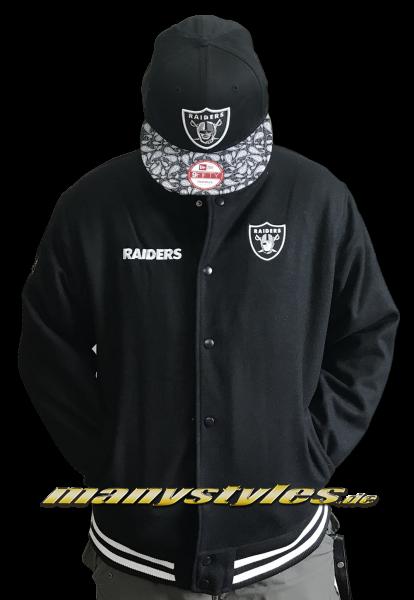New Era Oakland Raiders NFL Team Apparel Melton Bomber Jacket Black White OTC von New Era
