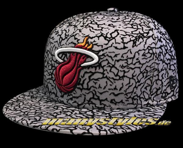 Miami Heat 59FIFTY NBA Cap Flock Crown Grey OTC Black Scarlet Red von New Era