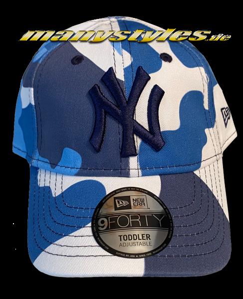 NY Yankees MLB 9FORTY Adjustable Cap Kids Camo Curved Visor Kids Toddler Blue Camouflage von New Era