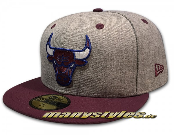 Chicago Bulls NBA Heather Contrast 59fifty Chambray Heather Grey Plum White frontside
