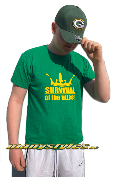 manystyles Survival of the Fittest Crown exclusive T-Shirt in Packers Green Yellow von Sol Front Real