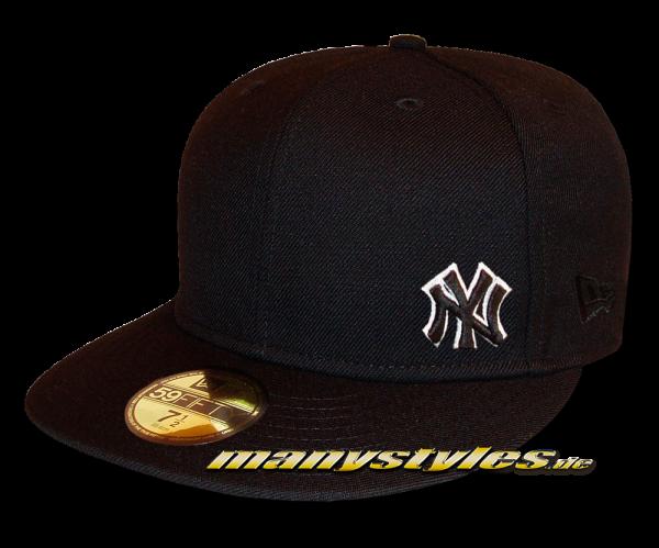 NY YANKEES MLB Basic Flawless Cap Black White 59FIFTY Fitted New Era Cap BoB NE Logo