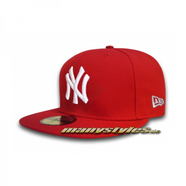 NY Yankees 59FIFTY MLB Basic Cap Scarlet Red White