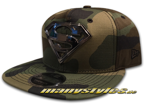 Superman DC Comic 9FIFTY Hero Camo Metal Snapback Cap Woodland Camouflage Silver von New Era