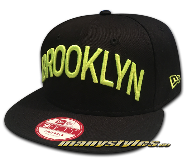 Brooklyn Dodgers mlb hwc Hardwood Classics 9fifty Seasonal Basic New Era Snapback Cap black neon yel frontside