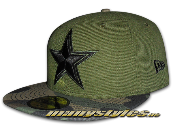 Dallas Cowboys NFL 59FIFTY Exclusive Cap Rifle Green Woodland Camouflage Black von New Era