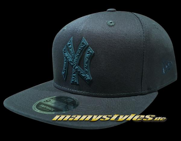 NY Yankees 9FIFTY MLB Rubberized Camo Logo OriginalFit Snapback Cap Navy Tonal