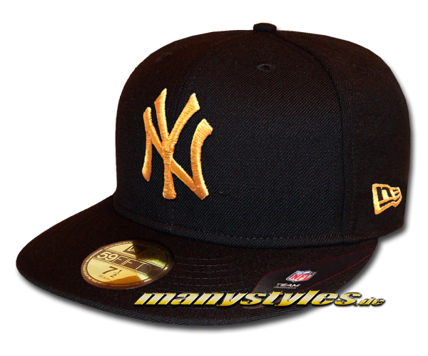 NY Yankees MLB 59FIFTY Fitted Cap League Essential Black oGold von New Era