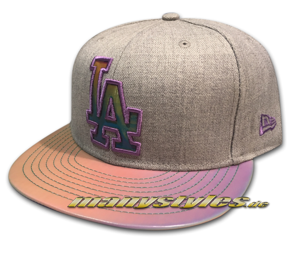 La Dodgers mlb 9fifty new era snapback cap multi slick visor heather grey chambray chambrak purple multicolor alternate view mc fly back to the future frontside
