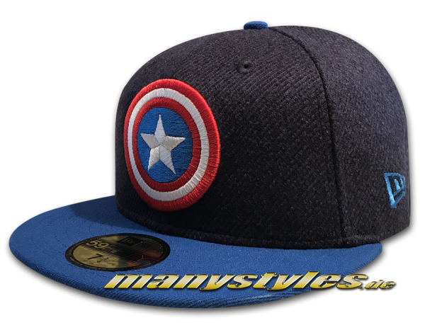 New Era Marvel Comics Captain America 59FIFTY Classic Trim Fit Cap Heather Royal Scarlet Red White OTC
