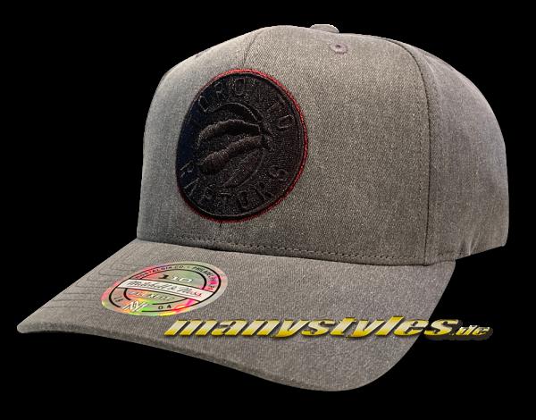 Toronto Raptors NBA Washed Denim 110 Stetch Snapback Cap Grey Black von Mitchell and Ness