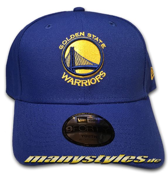 Golden State Warriors NBA 9FORTY The League Youth Kids Adjustable Curved Visor Cap Royal Yellow OTC von New Era
