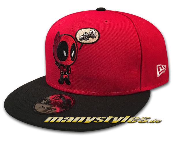 Marvel Comic Deadpool 9FIFTY exclusive Snapback Cap Deadpooly Red Black Front von New Era