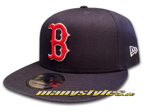 Boston Red Sox 9FIFTY New Era League Essential Basic Authentic Cotton Block Snapback Cap Navy Team Color von New Era