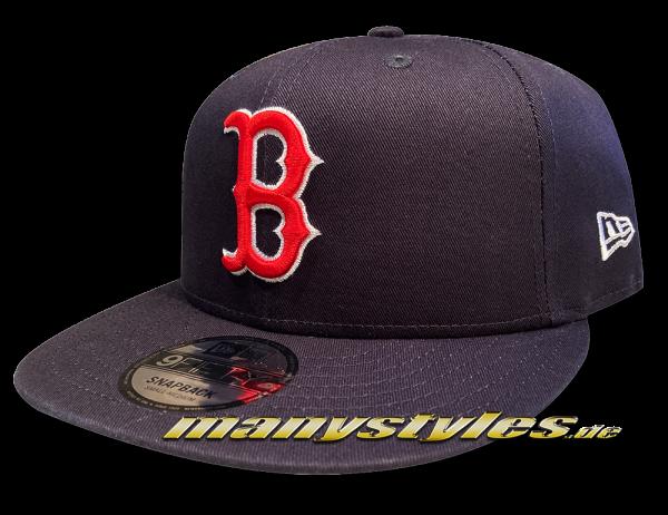 Boston Red Sox 9FIFTY New Era League Essential Basic Authentic Cotton Block Snapback Cap Navy Team Color von New Era