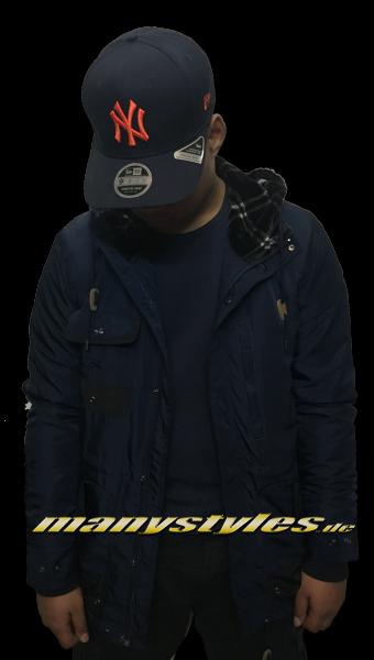 Mahagony Apparel Parka Jacket Navy Plaids